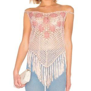 Tops - Pink Crochet Cover Up Top Knitted Beach Wear